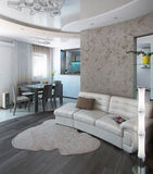 A sala de estar do minimalismo, 3D rende Imagens de Stock