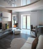 A sala de estar do minimalismo, 3D rende Imagens de Stock Royalty Free