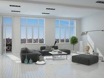 Sala de estar elegante dentro de una casa arquitectónica Fotografía de archivo libre de regalías