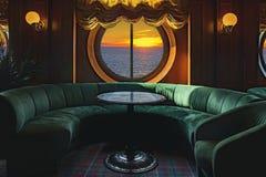 Sala de estar em um navio de cruzeiros com tabelas e poltrona Fotografia de Stock