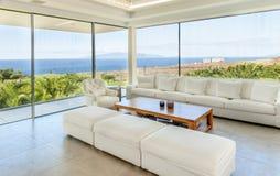 Sala de estar en el chalet moderno Imagen de archivo libre de regalías
