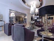 Sala de estar en estilo neoclásico imagen de archivo