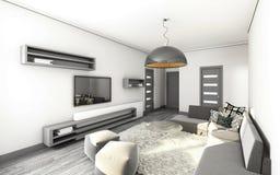 Sala de estar en gris Fotografía de archivo