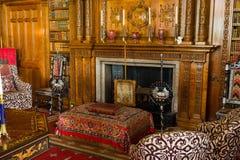 Sala de estar en la casa victoriana de Charlecote Foto de archivo