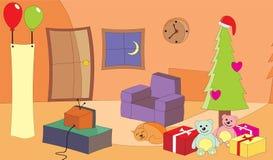 Sala de estar en la Nochebuena Imagenes de archivo