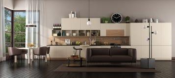 Sala de estar grande con la cocina fotografía de archivo libre de regalías