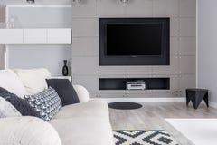 Sala de estar gris con la TV fotografía de archivo libre de regalías