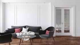 Sala de estar interior blanca clásica con el sofá y las butacas negros Mofa del ejemplo para arriba Imagen de archivo