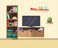 Sala de estar interior con muebles, la TV y el estante Imagen de archivo libre de regalías