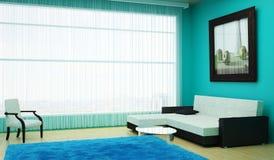 Sala de estar interior con una ventana grande que pasa por alto la ciudad y una pintura grande en la pared Imagen de archivo
