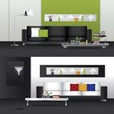 Sala de estar interior del diseño plano y muebles interiores Fotos de archivo libres de regalías