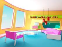 Sala de estar interior del retrofuturism fotos de archivo