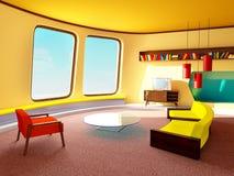 Sala de estar interior del retrofuturism fotografía de archivo libre de regalías
