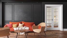 Sala de estar interior negra clásica con el sofá y las butacas rojos Mofa del ejemplo para arriba Imagen de archivo libre de regalías