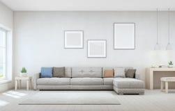 Sala de estar de la opinión del mar y pequeña zona de trabajo de la casa de playa de lujo moderna Escritorio de madera con el sof Fotografía de archivo