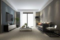 sala de estar de lujo de la representación 3d con el piso y el gabinete de madera imagenes de archivo