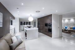 Sala de estar lujosa con una cocina y un comedor imagen de archivo libre de regalías