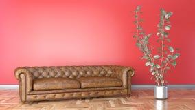 Sala de estar mínima con el sofá de cuero marrón y el ejemplo rojo de la pared 3D ilustración del vector