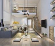 sala de estar de madera blanca de la representación 3d cerca del dormitorio upstair imagen de archivo libre de regalías