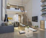 sala de estar de madera blanca de la representación 3d cerca del dormitorio upstair fotografía de archivo