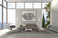 Sala de estar mediterránea moderna de la playa fotografía de archivo