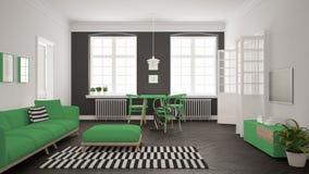 Sala de estar minimalista brillante con el sofá y la mesa de comedor, scandi Fotografía de archivo