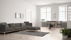 Sala de estar minimalista brillante con el sofá y la mesa de comedor, scandi Imagen de archivo libre de regalías