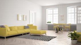 Sala de estar minimalista brillante con el sofá y la mesa de comedor, scandi Fotos de archivo libres de regalías