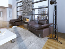 Sala de estar minimalista com chaminé Foto de Stock