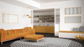 Sala de estar minimalista con el sofá, la alfombra redonda grande y la cocina en el diseño interior moderno del fondo, gris y ama Imagen de archivo libre de regalías