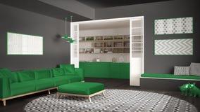 Sala de estar minimalista con el sofá, la alfombra redonda grande y la cocina i imagen de archivo