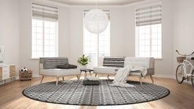 Sala de estar minimalista escandinava con el sofá, la butaca y la carpa stock de ilustración