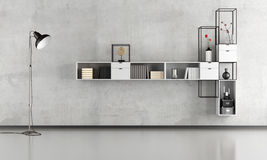 Sala de estar minimalista preto e branco Fotos de Stock Royalty Free