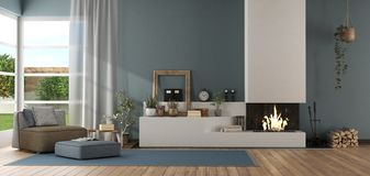 Sala de estar moderna azul con la chimenea ilustración del vector