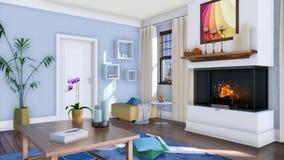 Sala de estar moderna brillante con la chimenea ardiendo 4K stock de ilustración