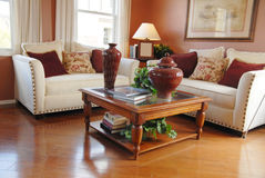 Sala de estar moderna brillante en nuevo hogar Fotos de archivo