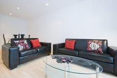 Sala de estar moderna con dos sofás de cuero Fotos de archivo libres de regalías