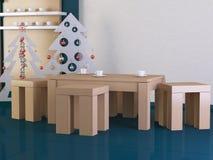 Sala de estar moderna con el árbol de navidad Fotografía de archivo