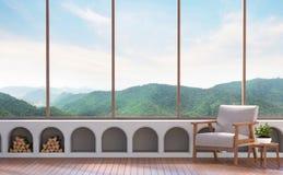 Sala de estar moderna con imagen de la representación del Mountain View 3d Foto de archivo