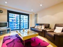 Sala de estar moderna con los sofás de cuero Fotos de archivo
