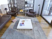 Sala de estar moderna con los sofás de cuero Foto de archivo libre de regalías