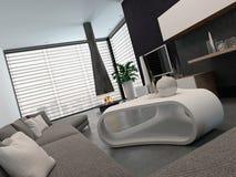 Sala de estar moderna con muebles y la chimenea agradables ilustración del vector