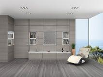 Sala de estar moderna con revestimiento de madera de la pared Foto de archivo libre de regalías
