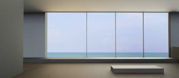 Sala de estar moderna da praia no feriado na opinião do mar Foto de Stock Royalty Free