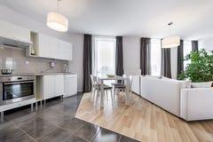 Sala de estar moderna del diseño interior con la cocina Imágenes de archivo libres de regalías