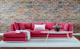 Sala de estar moderna del diseño interior, pared de ladrillo vieja, estilo retro, sofá rojo imágenes de archivo libres de regalías