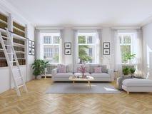 Sala de estar moderna en casa urbana representación 3d Fotografía de archivo libre de regalías
