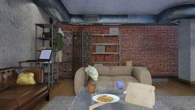 Sala de estar moderna en diseño del apartamento 3D del desván libre illustration