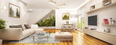 Sala de estar moderna en una casa grande con una escalera y un jardín ilustración del vector