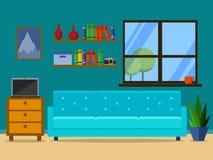 Sala de estar retra plana con el sofá, la ventana y el estante para libros vector el ejemplo para el sitio web, presentación, inf stock de ilustración